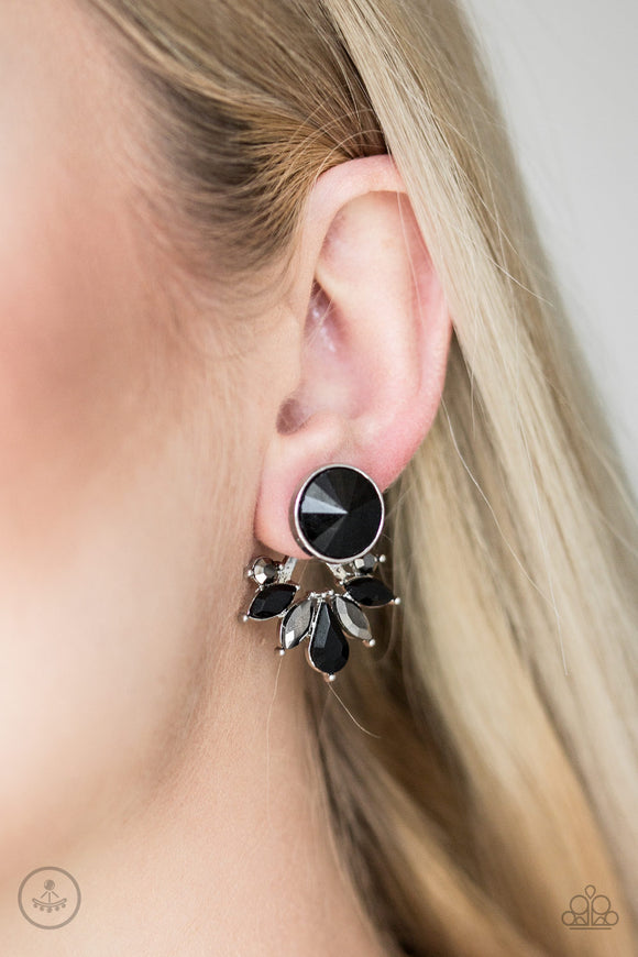 Paparazzi Accessories Radically Royal - Black Post Earring - Mel's Pretty It Up Boutique