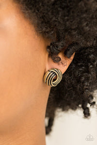 Paparazzi Accessories Rare Refinement - Brass Earring - Mel's Pretty It Up Boutique