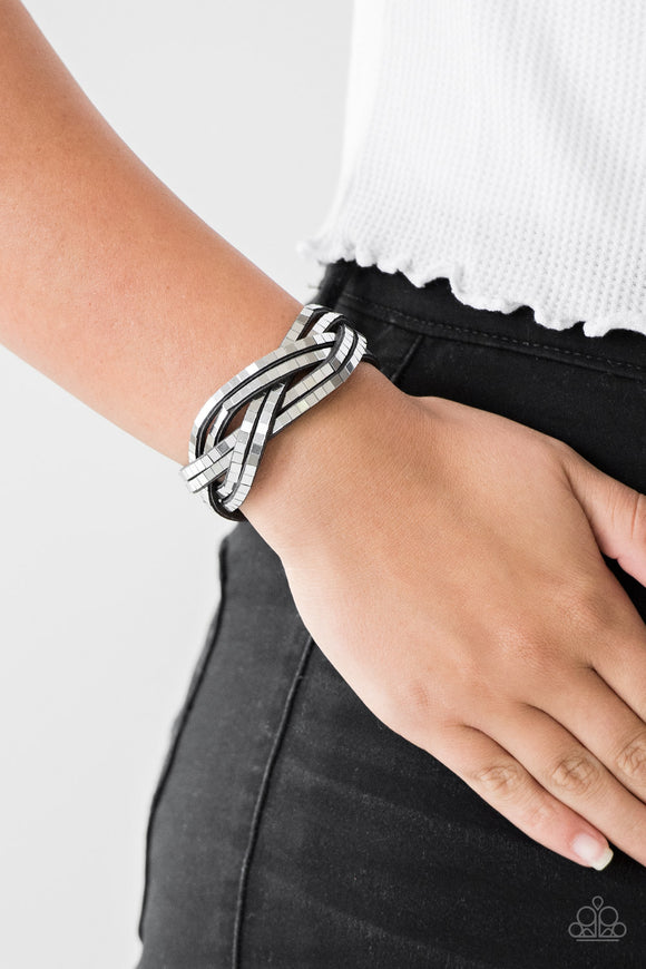 Paparazzi Accessories Looking For Trouble - Black Snap/Wrap Bracelet - Mel's Pretty It Up Boutique