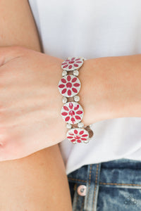 Paparazzi Accessories Dancing Dahlias - Red Bracelet - Mel's Pretty It Up Boutique