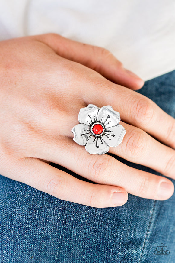 Paparazzi Accessories Boho Blossom - Red Ring - Mel's Pretty It Up Boutique