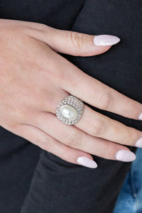 Paparazzi Accessories Glittering Go-Getter - White Ring LOP Exclusive - Mel's Pretty It Up Boutique