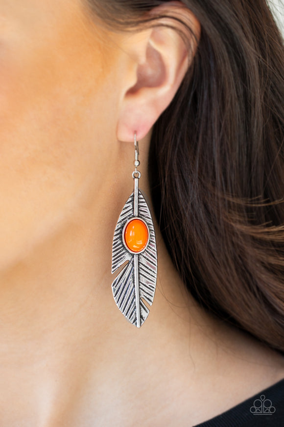 Paparazzi Accessories Quill Thrill - Orange Earrings - Mel's Pretty It Up Boutique