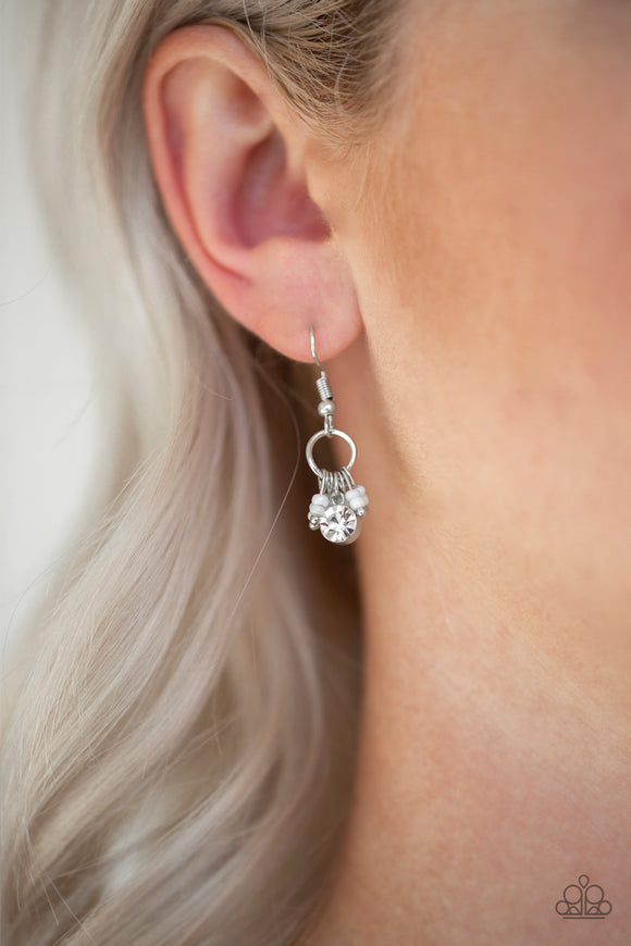 Paparazzi Accessories Twinkling Trinkets - White Earrings - Mel's Pretty It Up Boutique