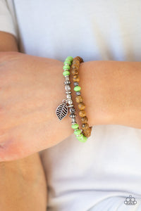 Paparazzi Accessories Wonderfully Woodland - Green Bracelet - Mel's Pretty It Up Boutique