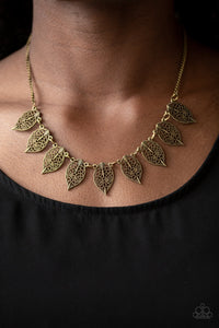 Paparazzi Accessories Leafy Lagoon - Brass Necklace - Mel's Pretty It Up Boutique