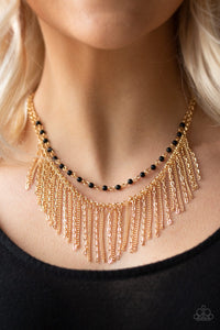 Paparazzi Accessories Fierce In Fringe - Gold Necklace - Mel's Pretty It Up Boutique