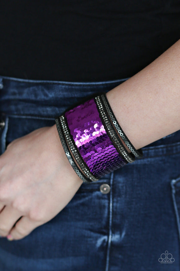 Paparazzi Accessories Heads Or MERMAID Tails - Purple Snap/Wrap Bracelet - Mel's Pretty It Up Boutique