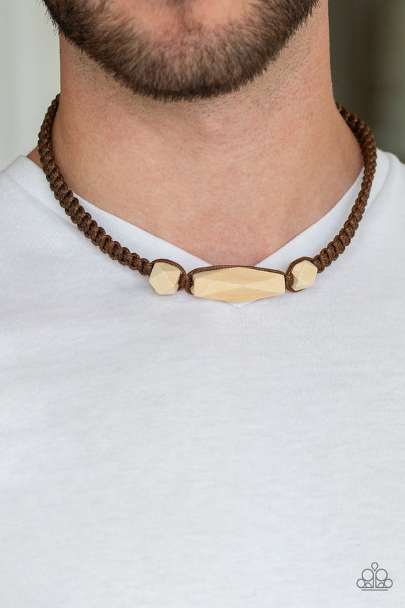 Paparazzi Accessories Urban Carpentry - Brown Urban Necklace - Mel's Pretty It Up Boutique