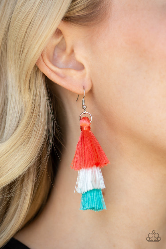 Paparazzi Accessories Hold On To Your Tassel! - Orange Earring - Mel's Pretty It Up Boutique
