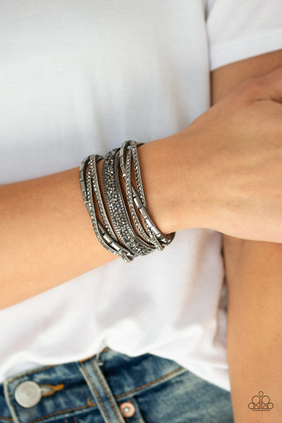 Paparazzi Accessories Punk Prowess - Silver Snap/Wrap Bracelet - Mel's Pretty It Up Boutique