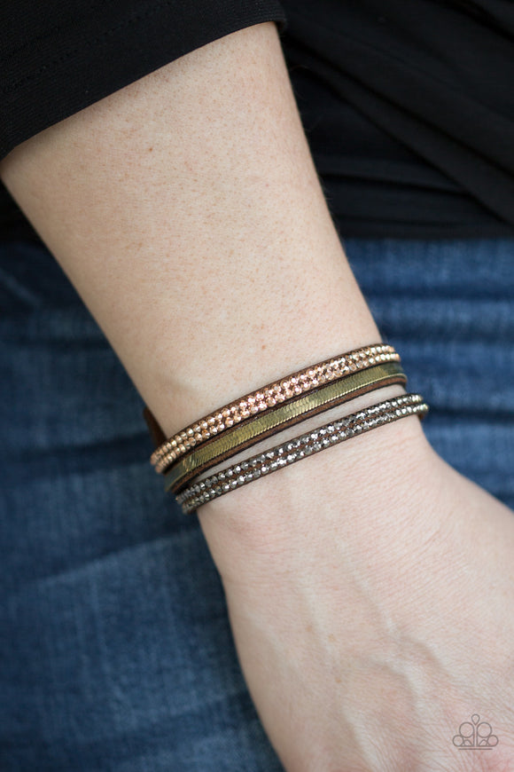 Paparazzi Accessories I Mean Business Multi - Brown Snap/Wrap Bracelet