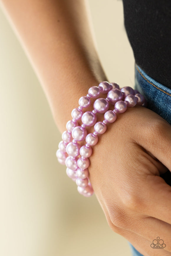 Paparazzi Accessories Total PEARL-fection - Purple Bracelet - Mel's Pretty It Up Boutique
