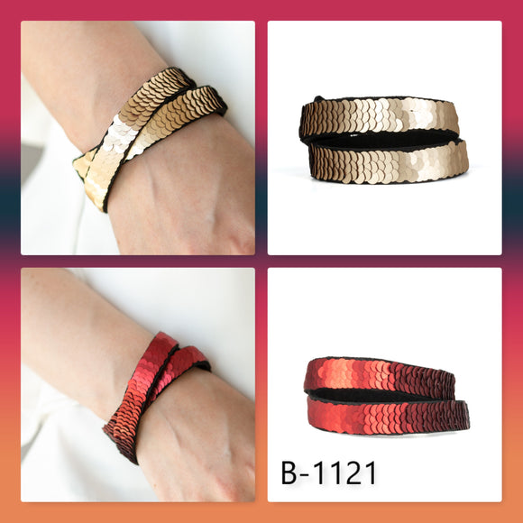 Paparazzi Accessories Under The SEQUINS - Brown Snap/Wrap Bracelet