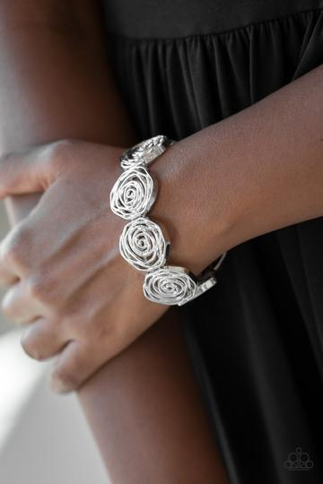 Paparazzi Accessories Beat Around The ROSEBUSH - Silver Bracelet - Mel's Pretty It Up Boutique