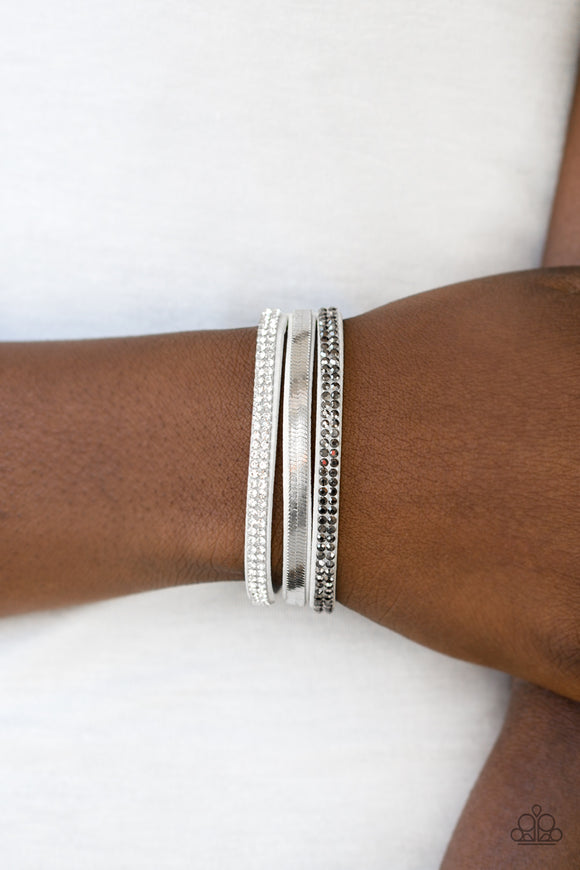 Paparazzi Accessories I Mean Business - White Snap/Wrap Bracelet