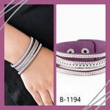 Paparazzi Accessories Rollin In Rhinestones - Purple Snap/Wrap Bracelet