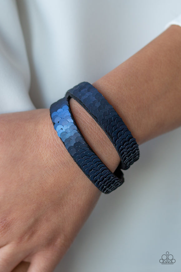 Paparazzi Accessories Under The SEQUINS - Blue Snap/Wrap Bracelet - Mel's Pretty It Up Boutique