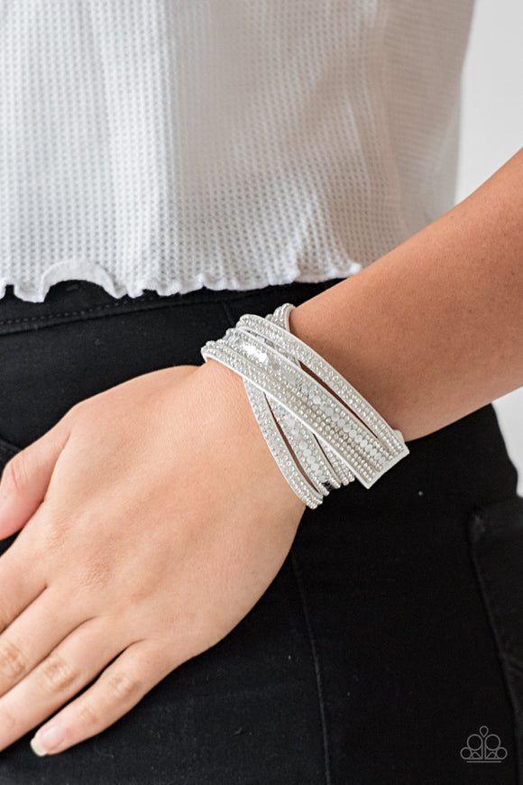 Paparazzi Accessories Rock Star Attitude - White Snap/Wrap Bracelet - Mel's Pretty It Up Boutique