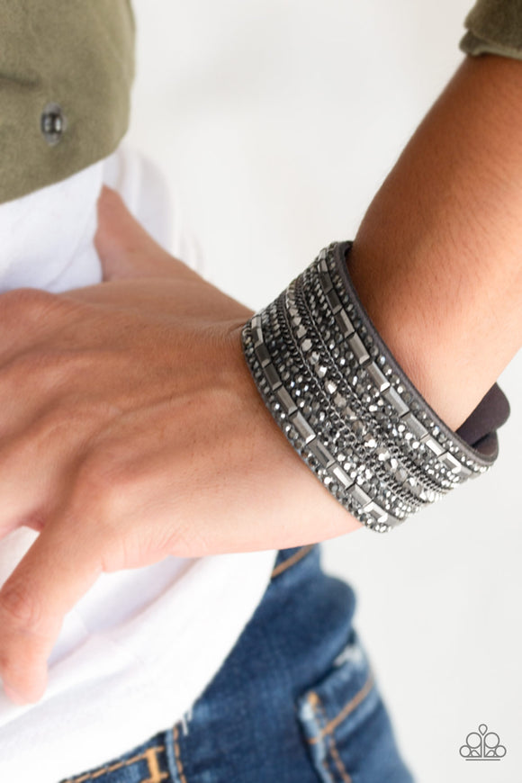 Paparazzi Accessories Rebel Radiance - Silver Snap/Wrap Bracelet - Mel's Pretty It Up Boutique