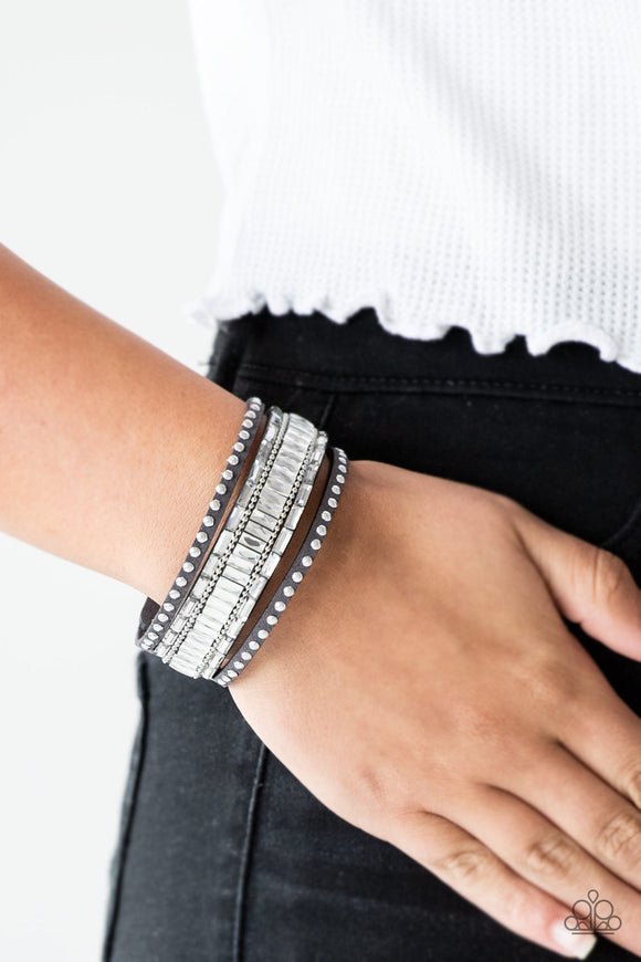 Paparazzi Accessories Rock Star Rocker - Silver Snap/Wrap Bracelet - Mel's Pretty It Up Boutique
