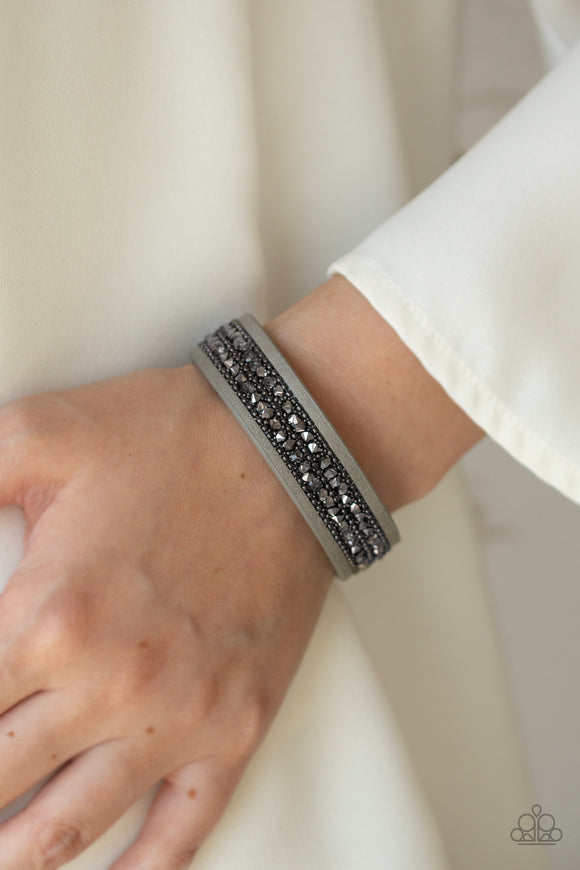 Paparazzi Accessories Crunch Time - Silver Snap/Wrap Bracelet - Mel's Pretty It Up Boutique