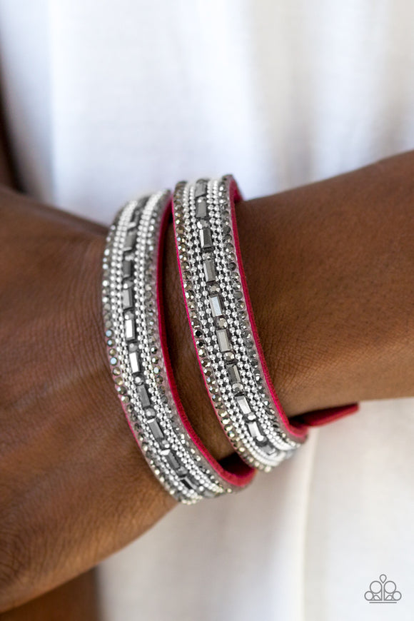 Paparazzi Accessories Shimmer and Sass - Pink Snap/Wrap Bracelet - Mel's Pretty It Up Boutique