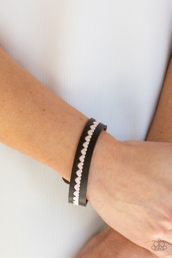 Paparazzi Accessories Made With Love - Pink Snap/Wrap Bracelet