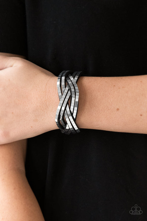 Paparazzi Accessories Looking For Trouble - Silver Snap/Wrap Bracelet