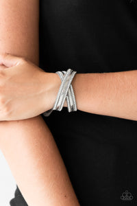 Paparazzi Accessories Rocker Rivalry - Silver Snap/Wrap Bracelet
