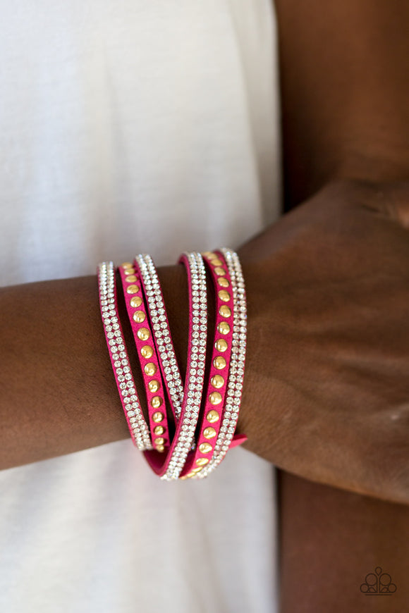 Paparazzi Accessories I BOLD You So! - Pink Snap/Wrap Bracelet