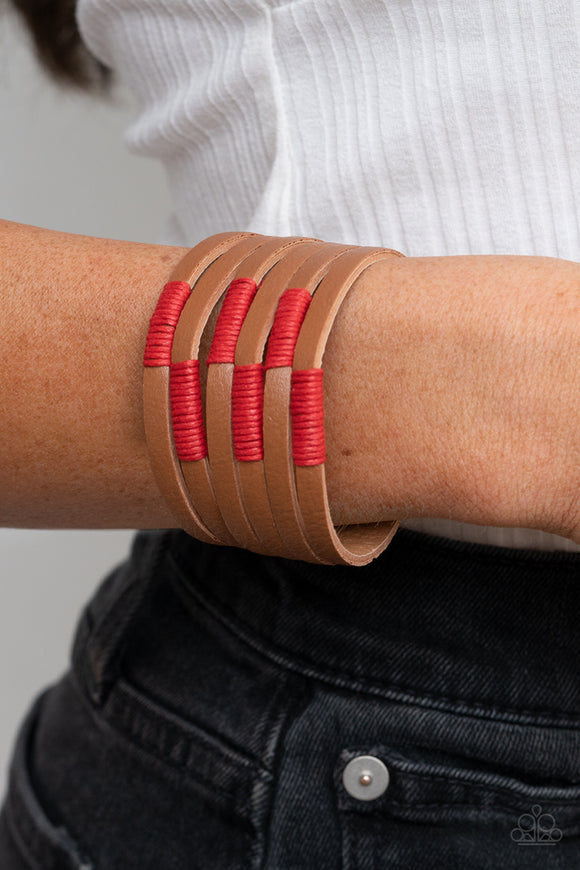Paparazzi Accessories Country Colors - Red Snap/Wrap Bracelet