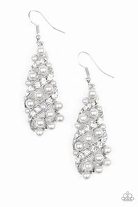 Paparazzi Accessories Ballroom Waltz - White Earrings - Mel's Pretty It Up Boutique