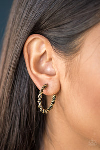 Paparazzi Accessories Plainly Panama - Brass Earring - Mel's Pretty It Up Boutique