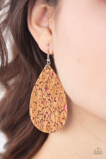 Paparazzi Accessories CORK It Over - Pink Earring - Mel's Pretty It Up Boutique