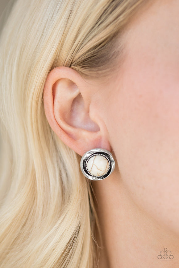 Paparazzi Accessories Out Of This Galaxy - White Earrings