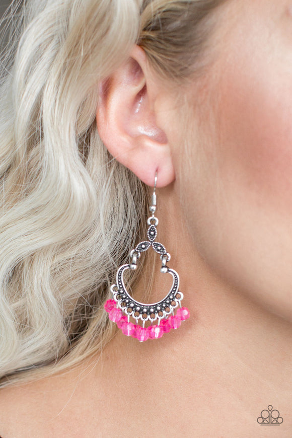Paparazzi Accessories Dinner Party Posh - Pink Earring - Mel's Pretty It Up Boutique