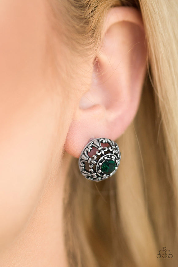 Paparazzi Accessories Courtly Courtliness - Green Earrings