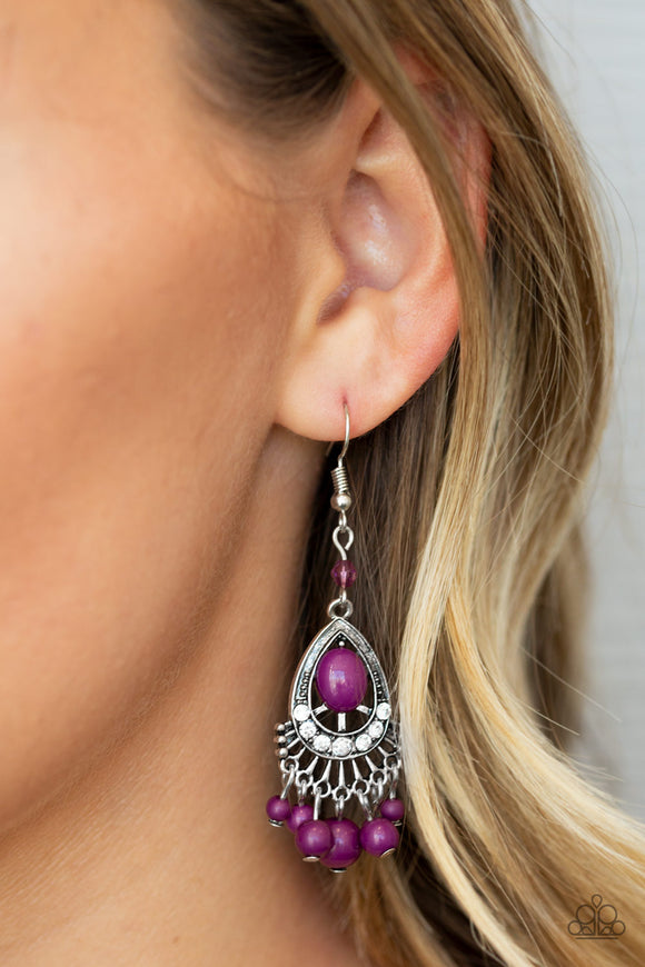 Paparazzi Accessories Floating On HEIR - Purple Earrings