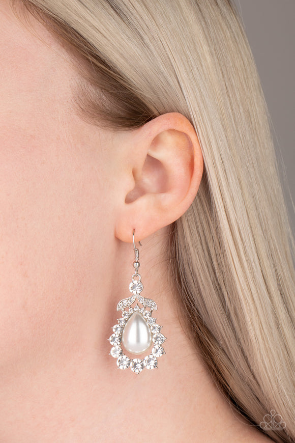 Paparazzi Accessories Award Winning Shimmer - White Earrings