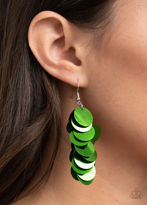 Paparazzi Accessories Now You SEQUIN It - Green Earrings