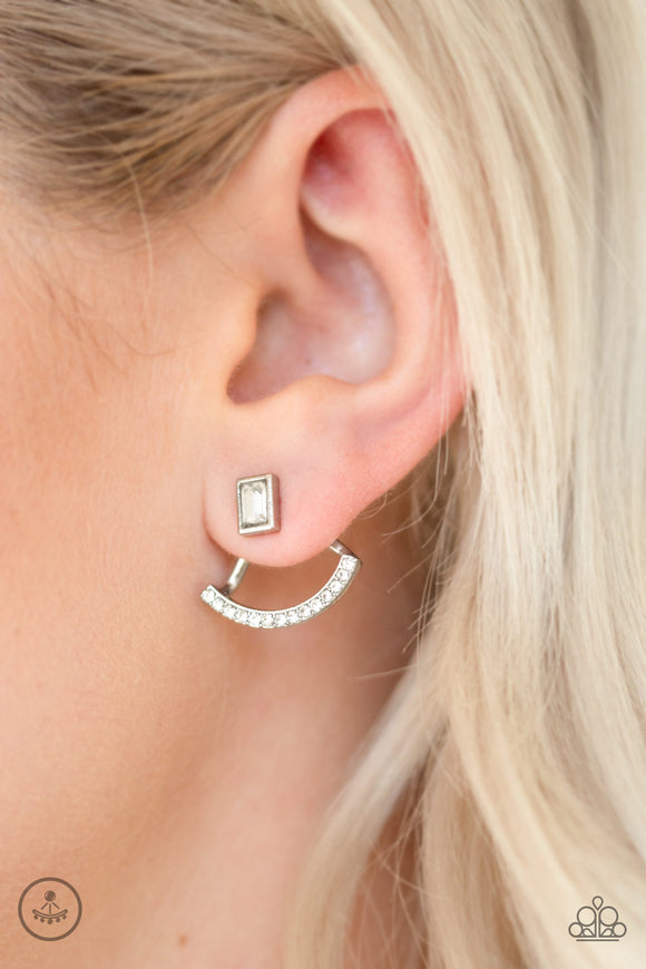 Paparazzi Accessories Delicate Arches - White Earrings - Mel's Pretty It Up Boutique