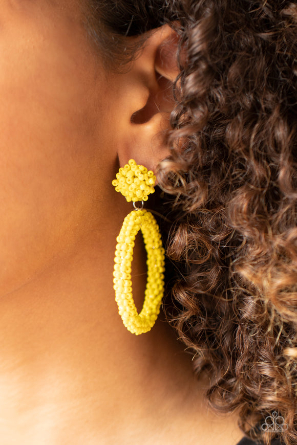 Paparazzi Accessories Be All You Can BEAD - Yellow Earrings