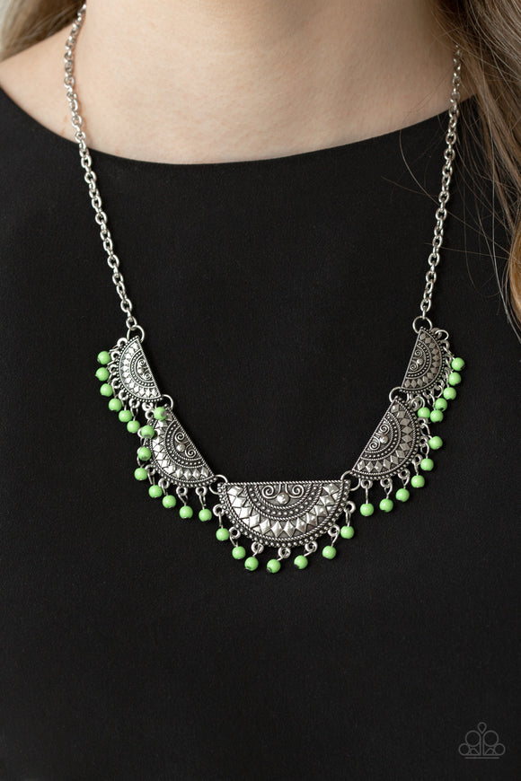 Paparazzi Accessories Boho Baby - Green Necklace - Mel's Pretty It Up Boutique