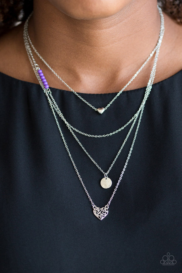 Paparazzi Accessories Gypsy Heart - Purple Necklace - Mel's Pretty It Up Boutique