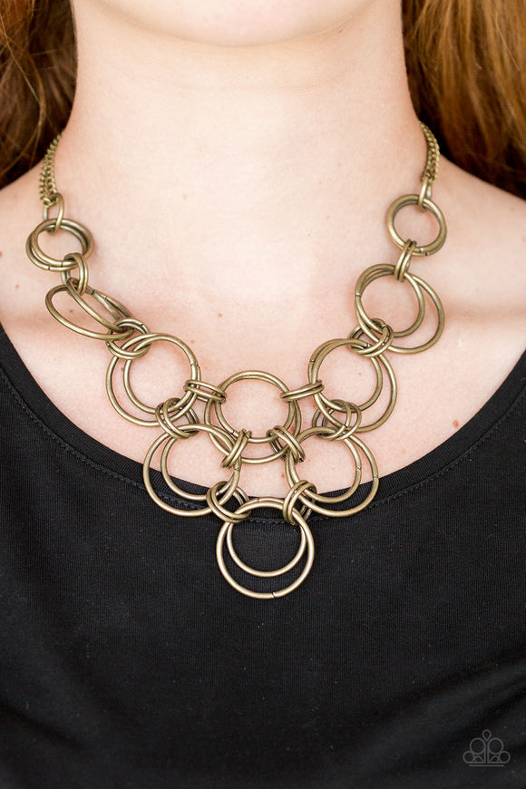 Paparazzi Accessories Ringing Off The Hook - Brass Necklace