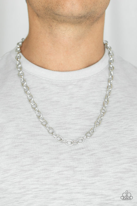 Paparazzi Accessories Courtside Seats - Silver Men's Necklace - Mel's Pretty It Up Boutique