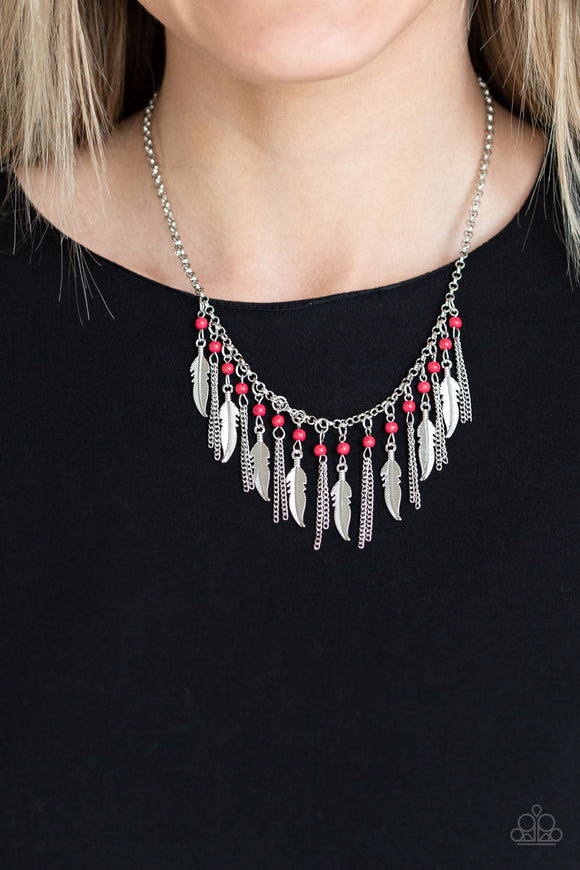 Paparazzi Accessories Feathered Ferocity - Red Necklace