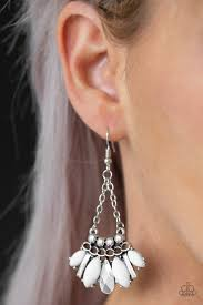 Paparazzi Accessories Terra Tribe - White Earrings 2019 Summer Party Pack Exclusive - Mel's Pretty It Up Boutique