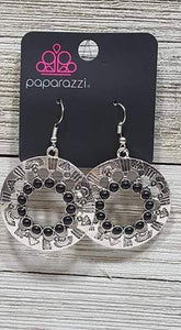 Paparazzi Accessories Organically Omega - Black Earring Fashion Fix Exclusive July 2019 - Mel's Pretty It Up Boutique
